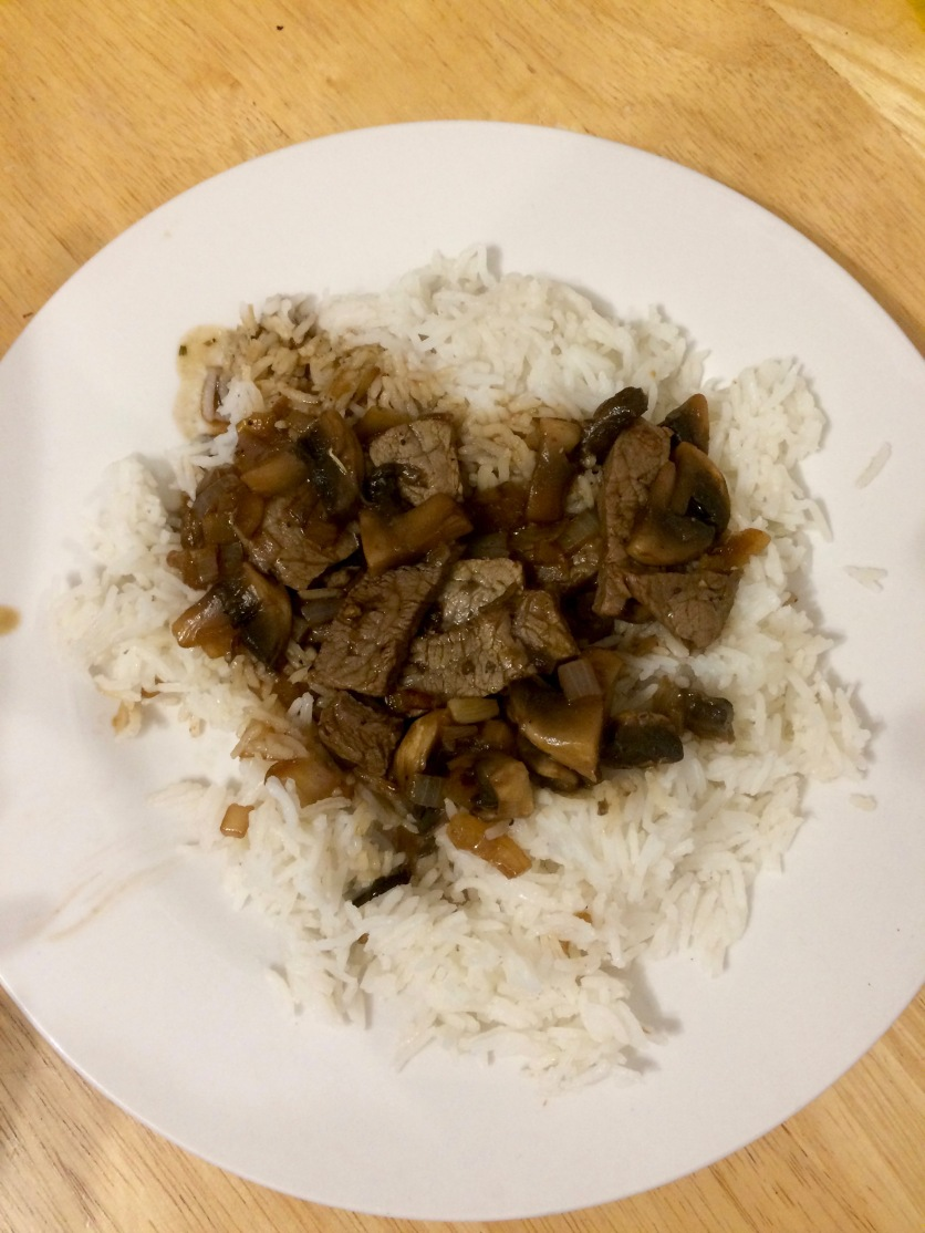 One of my own recipes, Fungi Rice with steak